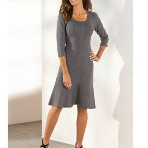 Soft Surroundings Raffinato Dress Grey Knit Flare